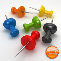 3d model pushpin push