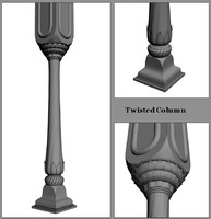 3d model decorative column twisted