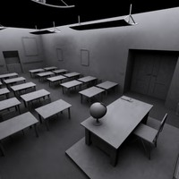3d model of classroom extinguisher desks