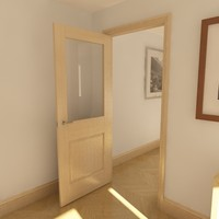 modern panel door glazing 3d model