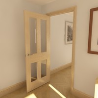 3d model panel glazed door