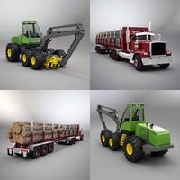3d model timberjack timber truck