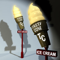 icecream cone sign 01 3ds