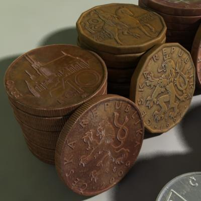 3d czech coins model - all czech coins... by Metexx