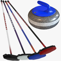Curling Stone and Brooms