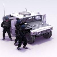 police swat team hummer 3d max