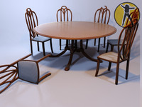Art Nouveau table chairs