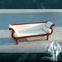 3ds max white victorian sofa