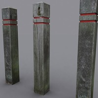 wooden post weathered 3d model