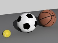 Soccer, Basketball and Tennis Ball High Poly Set