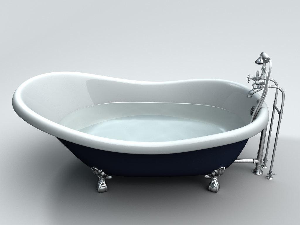 3d slipper clawfoot bathtub. Black Bedroom Furniture Sets. Home Design Ideas