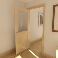 modern panel glazed door 3d model