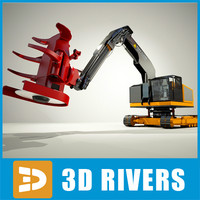 feller buncher industrial vehicles 3d obj