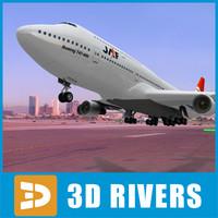 b-747 jal look 3d model