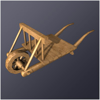 3d model of medieval wheel barrow
