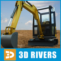 3dsmax mini hydraulic excavator industrial vehicles
