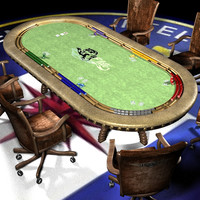 pokertable chair cards 3d model