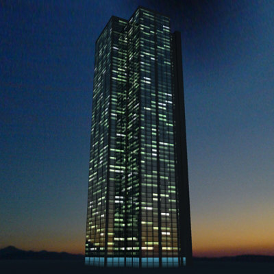 3ds max skyscraper night - palazsin Night... by FraP
