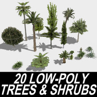 20 Trees and Shrubs - LowPoly Version