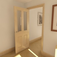 3d model of panelled glazed door