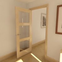 3d model 3 panel glazed door