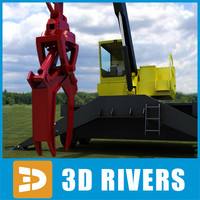 3d knuckleboom loader industrial vehicles model