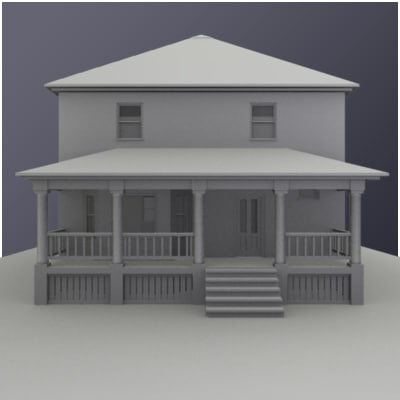 3d model traditional american square house architecture for Traditional american architecture