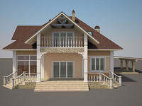 cottage house exterior 3d model