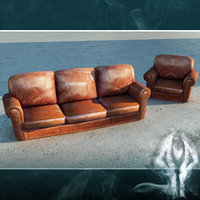 LowPoly leather couch and armchair