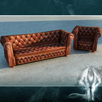LowPoly brown chesterfield sofa