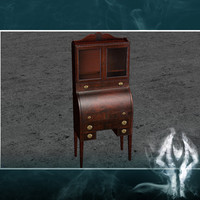 3d antique secretary cupboard model
