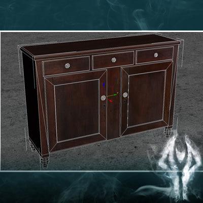Cupboard Models : 3d antique cupboard model - LowPoly antique small cupboard... by ...