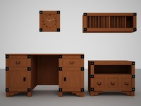 desk tv-table wall 3d model