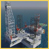 jack-up oil rig 3d fbx