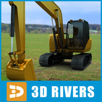 3d model of hydraulic excavator industrial vehicles