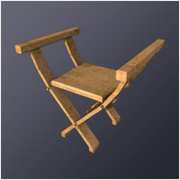 3d medieval x chair seat model