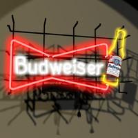 budweiser neon sign bud x