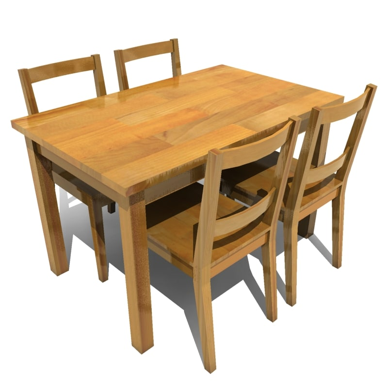Kitchen Furniture Revit Families: Dining Table Chairs 3d Model