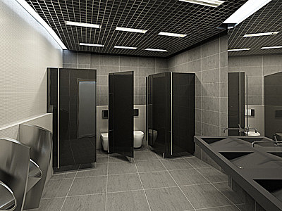 3ds max water closet office 2x for Office building bathroom design