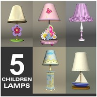 5 children lamps 3d max
