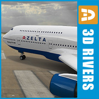 3d model of b-747 delta plane aircraft
