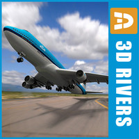 b-747 klm aircraft look 3ds