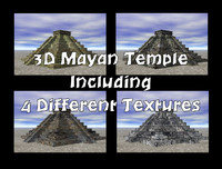 3D Mayan Temple with 4 Different Textures