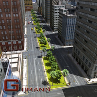 3ds max cityscape cars road