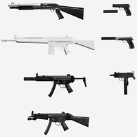 3d model 6 weapons pack rifles
