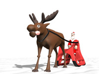 Santa Claus with Reindeer animated