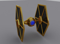 gold tie fighter 3d model