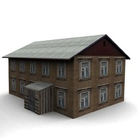 3d old wood house