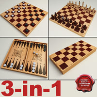 3-in-1 Chess Checkers Backgammon set