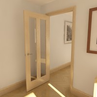 3d glazed door 2 panel model
